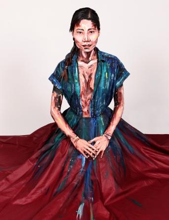 Painted lady: materiales y tecnicas nuevas, desde la confeccion y pintura de la ropa hasta el maquillaje con acrilicos. -Inspirada por Francesca Tolot de 3D a 2D